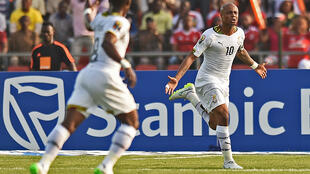 André Ayew  of Ghana at the teams first match at this year's CAN