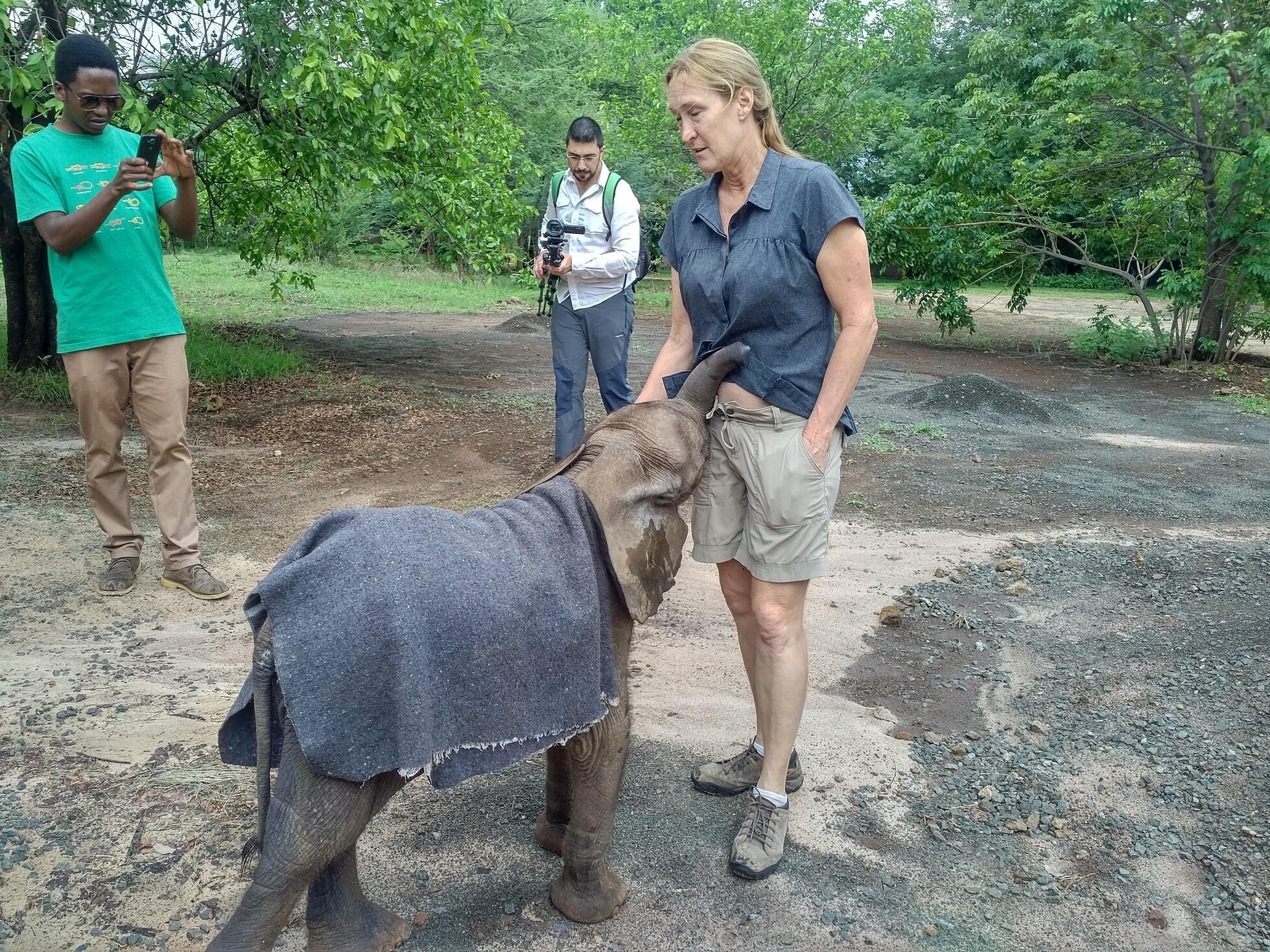 Kelly Landen con Tuli, un bebé elefante rescatado por la ONG Elephants Without Border. Diciembre de 2017.