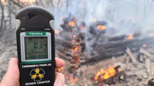 Um contador Geiger na cena de um incêndio florestal na zona de exclusão de Chernobyl em 6 de abril de 2020.