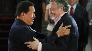 Chávez y Kirchner se reunieron en el Palacio presidencial de Miraflores, en Caracas.