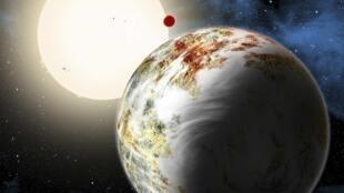 Ce à quoi pourrait ressembler Kepler-10c, planète dont la découverte a été annoncée en juin 2014 (image du Center for Astrophysics in Cambridge, Massachusetts).