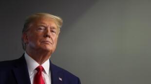 Donald Trump lors d'un point quotidien sur l'épidémie de coronavirus, à la Maison Blanche, le 20 avril 2020.