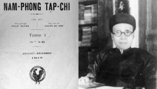 Chân dung Phạm Quỳnh và ảnh bìa Nam Phong Tạp chí (DR)