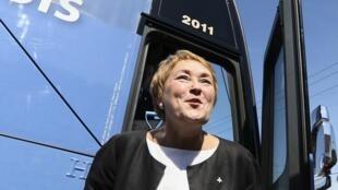 Pauline Marois durante campanha eleitoral em Quebec, no Canadá.