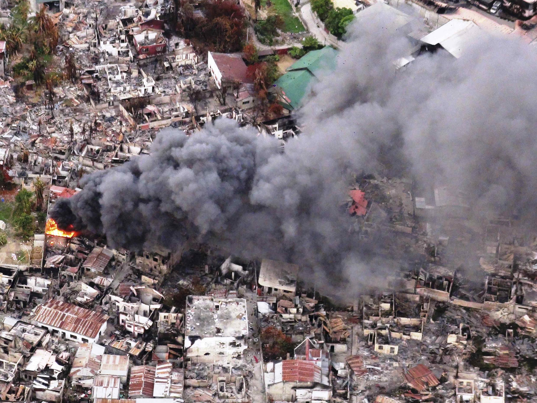 Những căn nhà bị đốt phá ở Zamboanga (miền Nam), trong các vụ giao tranh giữa quân đội và lực lượng Mặt trận Giải phóng Dân tộc Hồi giáo Moro (MNLF), ngày 25/09/2013