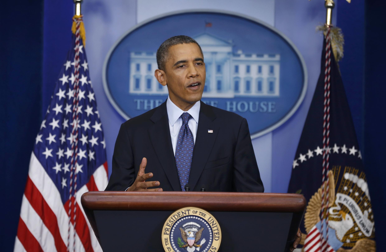 Le président Obama lors d'une conférence de presse donnée à la Maison Blanche ce mardi 8 octobre 2013.