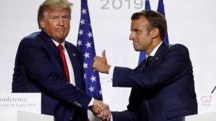 نشست خبری دونالد ترامپ و امانوئل ماکرون در فرانسه، بیاریتز