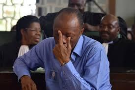 Tsohon babban hafsan sojin kasar Congo Jean-Marie Michel Mokoko a lokacin da ake yanke masa hukunci a birnin Brazzaville.