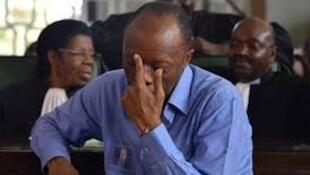 Jean-Marie Michel Mokoko lors de son procès à Brazzaville, le 11 mai 2018.