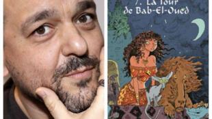 Joann Sfar à gauche, à droite couverture de sa nouvelle BD.