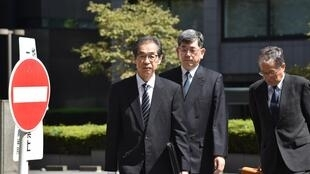 Tchiro Takekuro (left) vice president of Tepco seen at his trial in September 2019.