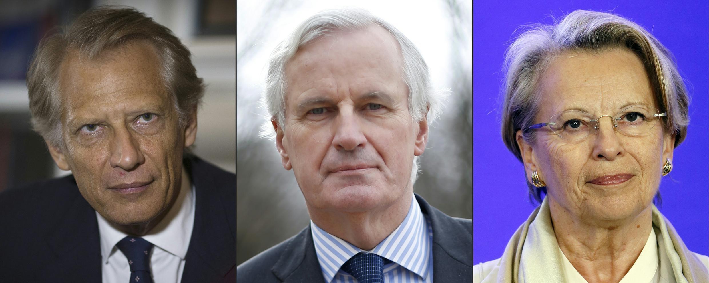 La justice française soupçonne l'ancien Premier ministre, Dominique de villepin (g), l'ancien ministre des Affaires étrangère, Michel Barnier (c) et L'ancienne ministre de la Défense, Michèle Alliot-Marie, d'entrave à l'enquête de l'affaire Bouaké.