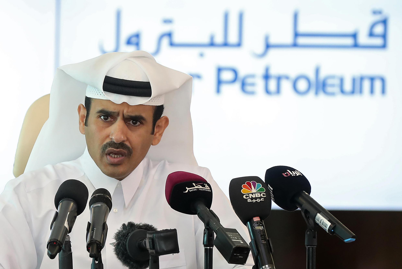 """کنفرانس خبری """"سعد الکعبی"""" رئیس شرکت نفت قطر (قطر پترولیوم) در دوحه. ۱۴ فروردین/ ٣ آوریل ٢٠۱٧"""