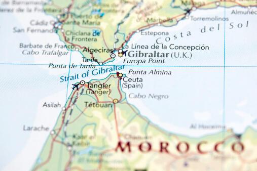 Carte montrant l'enclave de Ceuta au Maroc.