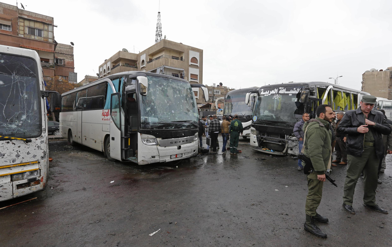 Local do  duplo atentado em Damasco, na Síria.