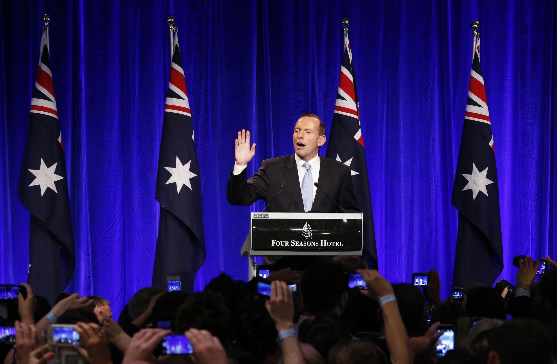 Lãnh đạo đảng bảo thủ Úc Tony Abbott tuyên bố chiến thắng, Sydney, 07/09/2013.