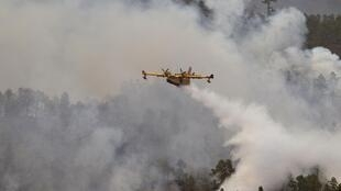 A fire-fighting plane releases water over a forest fire