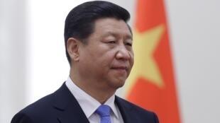 11月13日站在中国国旗前的中国主席习近平