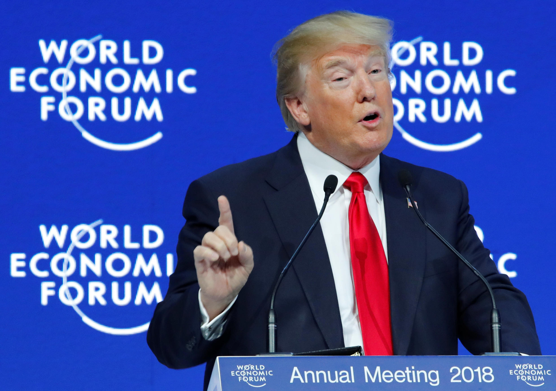 O Presidente Donald Trump durante o seu discurso no World Economic Forum (WEF) nesta sexta-feira em Davos,na Suíça. 26 de Janeiro de 2018