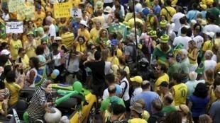 Imagen de una de las marchas antigubernamentales de este domingo en Brasil