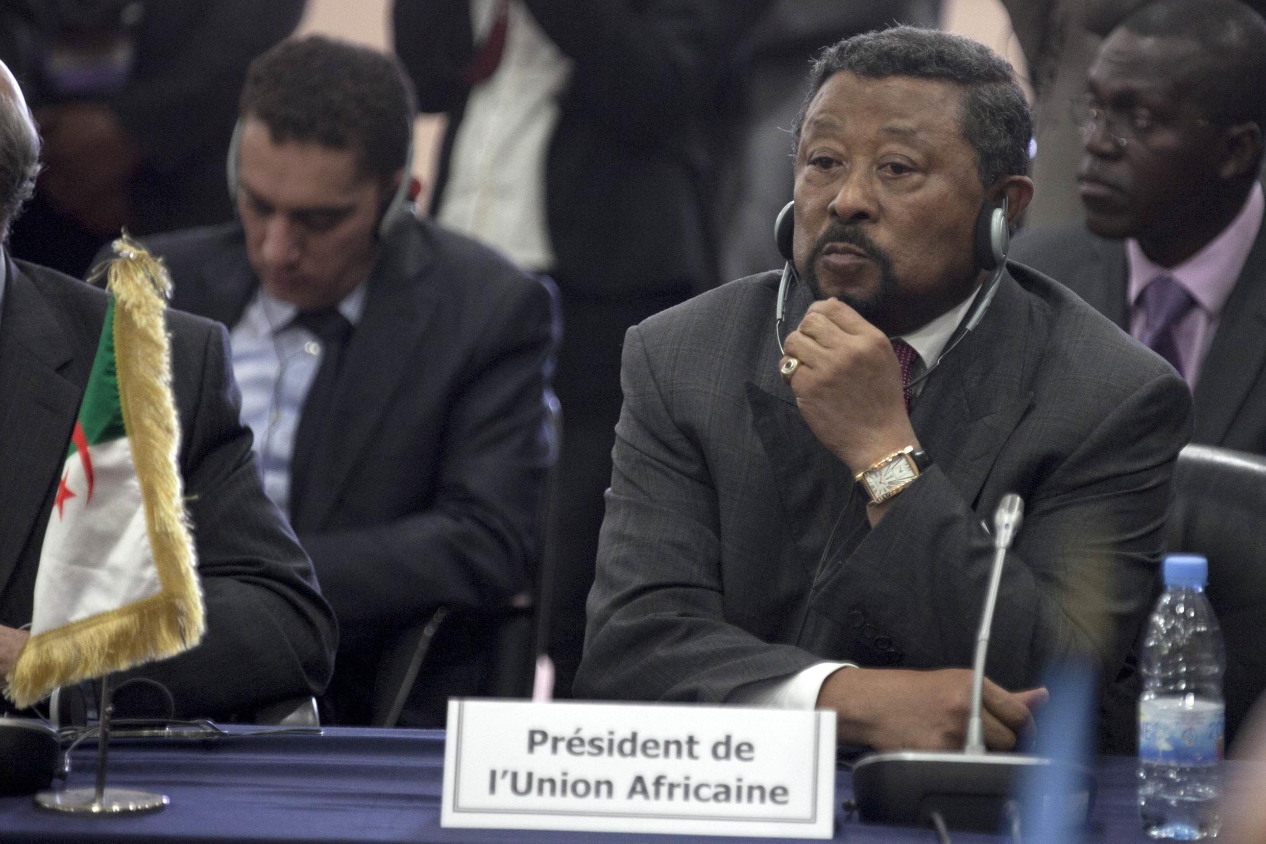 African Union President Jean Ping of Gabon attends an extraordinary meeting of the Ecowas