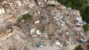 The village of Pescara del Tronto, near Amatricia, after the earthquake
