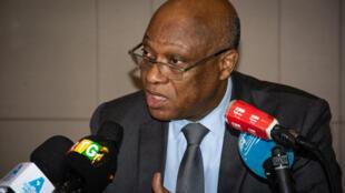 Jean-Claude Kassi Brou, président de la Commission de la Cédéao à Conakry lors du point de presse de la mission conjointe, le mardi 27 octobre 2020.
