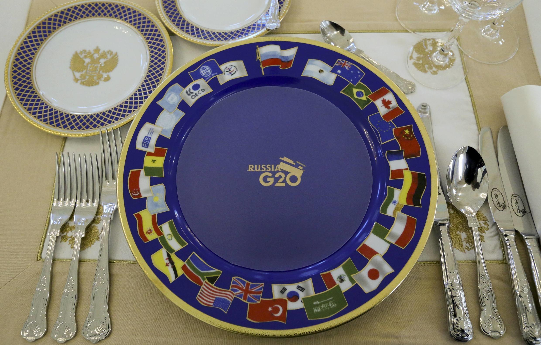 La table du dîner des dirigeants du G20 à Saint-Pétersbourg, le 5 septembre.
