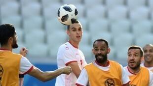 L'équipe de Tunisie à l'entraînement en Russie, le 17 juin 2018.