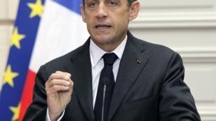 Le président français Nicolas Sarkozy, au palais de l'Elysée, le 28 janvier 2010.