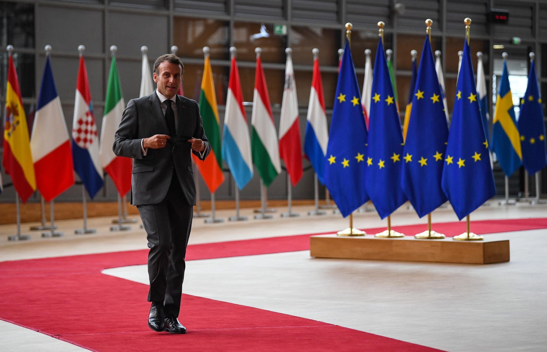 El presidente francés, Emmanuel Macron, llega a la cumbre de la UE, el 24 de junio de 2021 en Bruselas