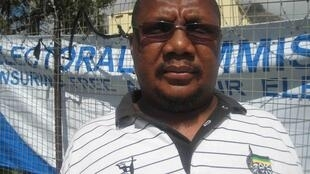 ANC agent Man-O-Man Mazele at the Iziko Lobome Community Hall in Imizamo Yethu
