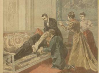 """Tranh minh họa cảnh tổng thống Felix Faure đột quỵ sau khi gặp """"tình nhân"""" trên tờ Le Petit Journal."""