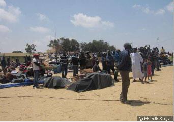 Le camp de réfugiés de Choucha à la frontière tunisienne en mai 2011.