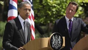 El presidente estadounidense Barack Obama habla junto al primer ministro británico, David Cameron.