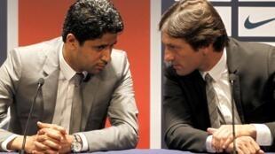 O proprietário do PSG, Nasser Al-Khelaifi, e o diretor esportivo do PSG, o brasileiro Leonardo.