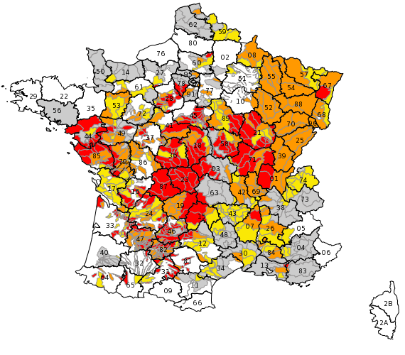 A map generated by French government drought monitoring web portal Propluvia shows water restrictions in 78 of the 96 administrative departments of mainland France.