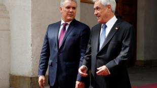 El presidente colombiano Iván Duque con su par chileno Sebastián Piñera, este 21 de marzo de 2019 en Santiago de Chile.