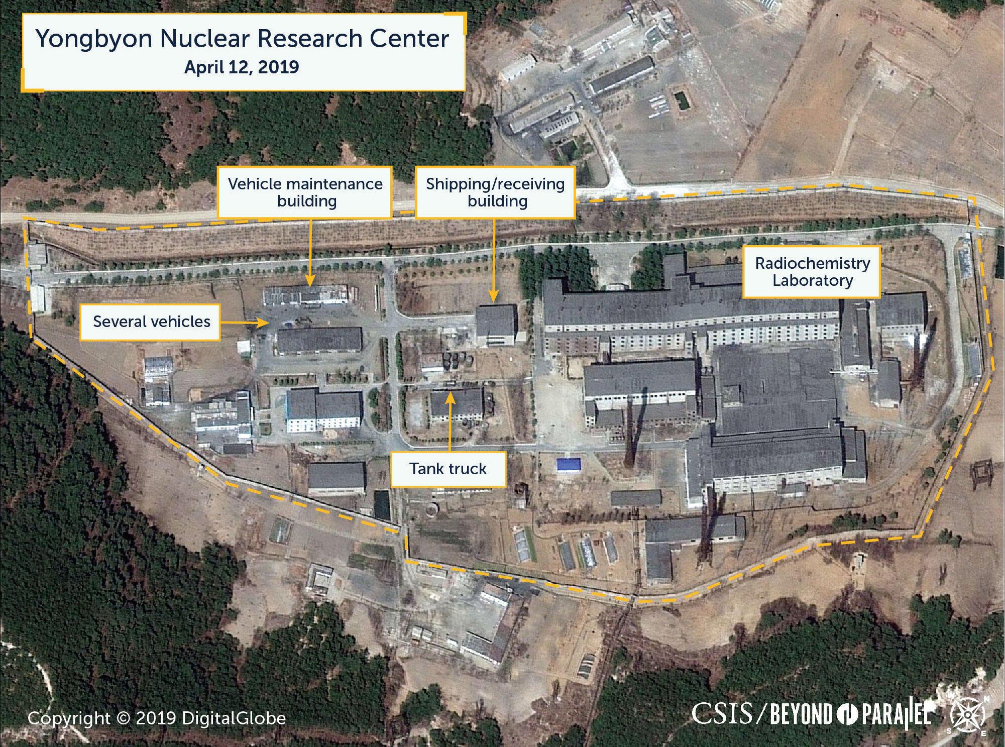 Bắc Triều Tiên : Ảnh vệ tinh chụp cơ sở hạt nhân Yongbyong, được công bố ngày 16/04/2019.