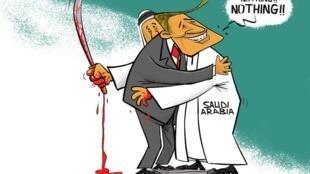 """Quan hệ Mỹ - Ả Rập Xê Út qua tranh biếm họa của RFI sau vụ nhà báo Jamal Khashoggi """"mất tích"""" tại lãnh sự quán Ả Rập Xê Út ở Istanbul."""