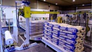 Stockage de lait en poudre dans l'usine Fonterra, la plus grande coopérative laitière néo-zélandaise.