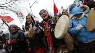 Manifestation d'Amérindiens, le 21 décembre 2012, à Ottawa.