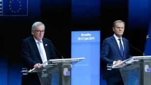 Rais wa Tume ya Umoja wa Ulaya  Jean-Claude Juncker (Kushoto)  na rais wa Baraza hilo  Donald Tusk (Kulia ) wakiwa jijini Brussles Juni 21 2019