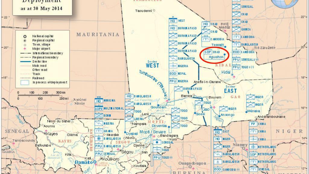 Ramani ya operesheni za Minusma nchini Mali, mji wa Aguelhok ukiwa ndio unalengwa..