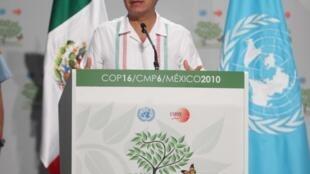 El presidente mexicano Felipe Calderon en la conferencia de Cancún
