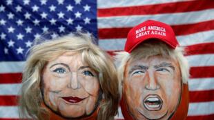 Imágenes de los candidatos a la presidencia de Estados Unidos (la demócrata Hillary Clinton y el republicano Donald Trump), creadas por el artista John Kettman en LaSalle.