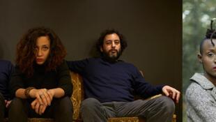 A gauche: Maryam Saleh, Maurice Louca et Tamer Abu Ghazaleh. A droite: Gasandji.