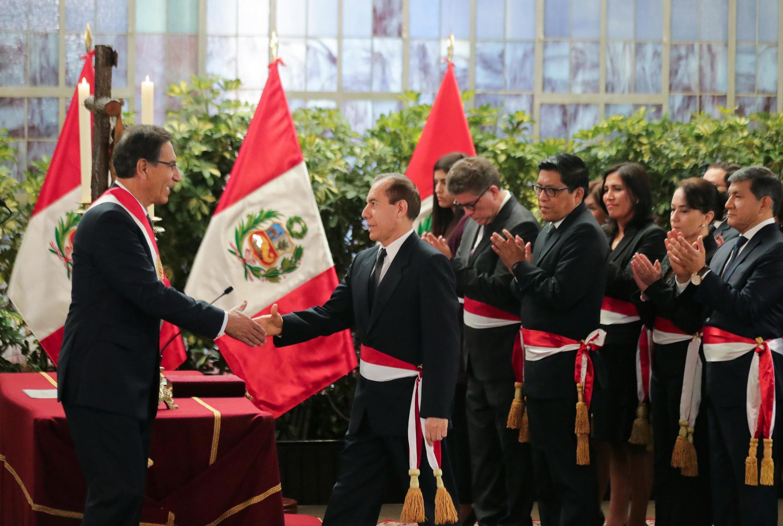 Ceremonia de juramentación en el palacio de gobierno en Lima, Perú, este 3 de octubre de 2019.
