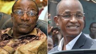 Alpha Conde (L) and Cellou Dalein Diallo (D)