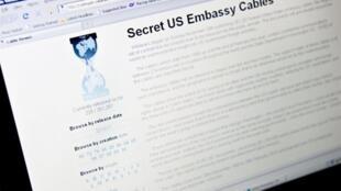 Une vue de la page d'accueil WikiLeaks prise à Washington le 28 novembre 2010.